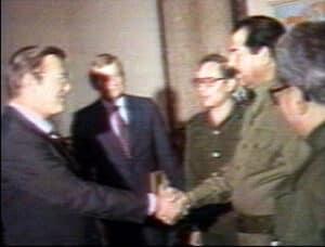 Donald Rumsfeld and Sadaam Hussein