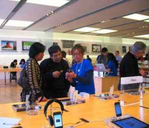 Knowledgable staff provide guidance at the Apple Store in Palo Alto