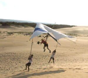 Randy Gray takes flight in a hang glider