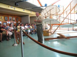A park service employee gives a lecture about the Wright Brothers first flight at the Wright Brothers National Monument at Kitty Hawk.