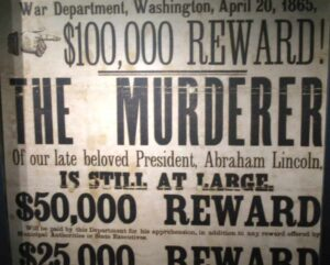 Reward poster for John Wilkes Booth
