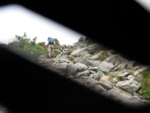 Hiker ascends Tuckerman Ravine