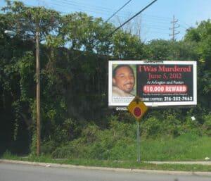 I was murdrered billboard in Glenville