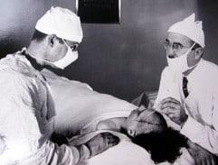 Walter Freeman and James Watts performing a lobotomy.
