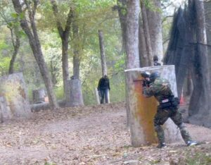 Caught in the crosshairs at paintball.