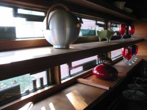 Ribbon windows with geometric trim at Frank Lloyd Wright's Schwartz House