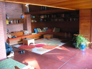 Portion of the main living space of Frank Lloyd Wright's Schwartz House