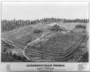 Aerial illustration of Andersonville prison