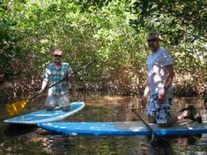 Tim Lincoln and Malcolm Logan in the mangrove swamp in Key West