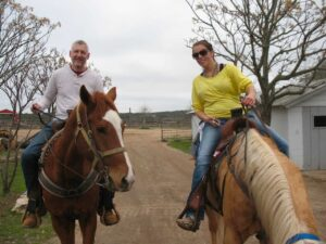 Malcolm Logan with Mary at the Running R Ranch