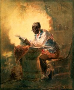 Slave reads of his freedom