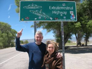 Malcolm and Cambelle Logan on the Extraterrestrial Highway