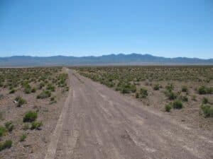 Groom Lake road in the Nevada desert outside Area 51