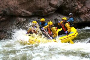 Water splashing in the rapids of the Royal Gorge