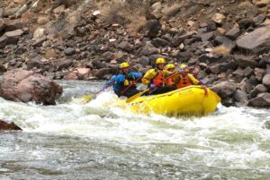 Picking our way through the rapids on the Arkansas River in Colorado