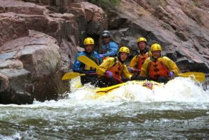 Approaching Sledgehammer, a Class IV-V rapid on the Arkansas River in the Royal Gorge.