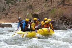 Entering Wall Slammer in the rapids of the Arkansas River in the Royal Gorge