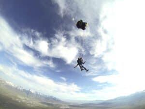 Malcolm Logan parchuting above Erda, Utah