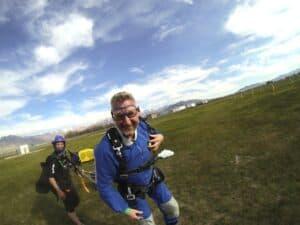 Malcolm Logan after parachuting at Skydive Utah
