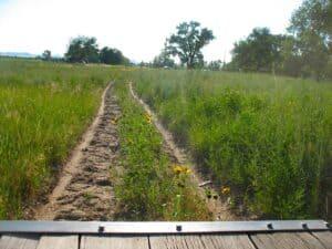Covered wagon tracks at the Oregon Trail Wagon ride in Bayard, NE