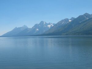 The Grand Tetons seen across Jackson Lake