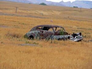 Rusting car at Pine Ridge Indian Reservation