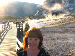 Marianne Grisdale at Mammoth Hot Springs