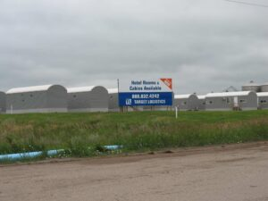 Self-contained housing units at a man camp in Williston, ND