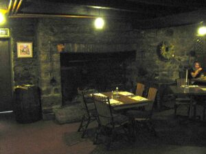 Fireplace and dining room at Jean Bonnet Tavern in Bedford, PA