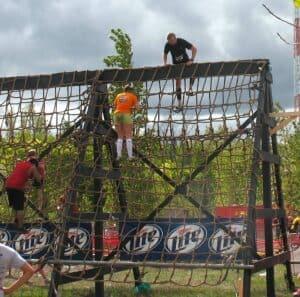 Cargo net obstacle at the Warrior Dash in Walker, MI