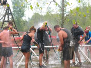 Warrior Dash wash down area at Grand Rapids, MI