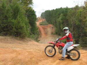 Randy Gray on a rented dirt bike at Carolina Adventure World
