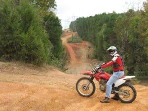 Randy Gray on a rented dirt bike at Carolina Adventure World