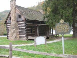 The hog trial cabin on the Hatfield and McCoy driving tour