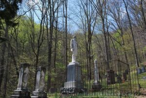 Statue of Devil Anse Hatfield at his grave site in Logan County West Virginia.