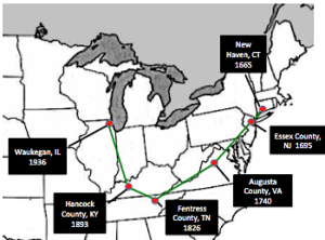 Migration route of the Hatfield family
