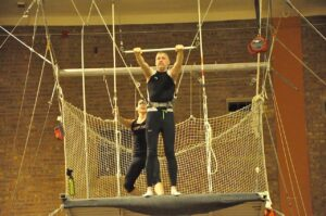 Malcolm Logan on the platform for his first jump at New York Trapeze School in Chicago