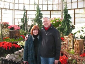 Marianne Grisdale and Malcolm Logan at the Poinsettia Show in Lincoln Park