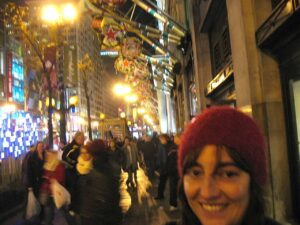 Marianne Grisdale on State Street during the Christmas season in Chicago