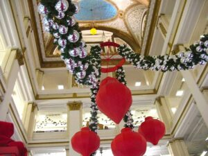 Christmas decorations in the atrium at the Macy's store in Chicago