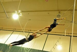 Malcolm Logan after the catch at trapeze school.