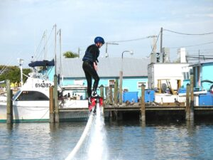 Malcolm Logan works on going higher on a Flyboard