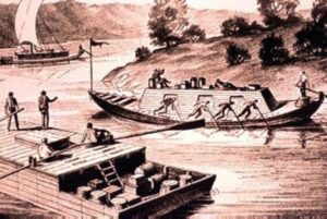 Keelboat and flatboat on the Ohio River in the 1800's