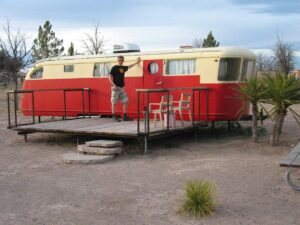 Mobile home at El Cosmico campground in Marfa, TX