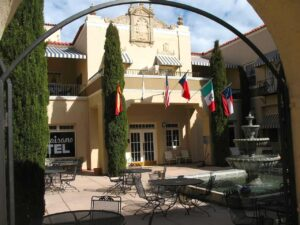 The Spanish colonial courtyard of the El Paisano Hotel in Marfa, TX