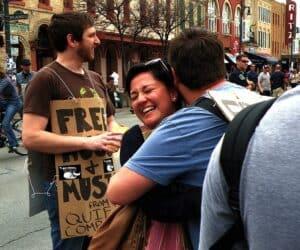 Free hugs on 6th Street in Austin