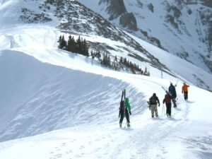 Hiking up Black Iron Bowl at Telluride