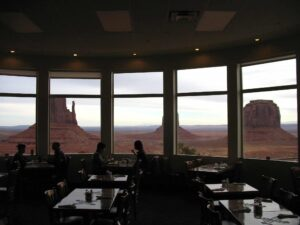 The view from the dining room of The View Hotel at Monument Valley