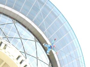 A figure drops at Sky Jump at the Stratosphere