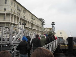 Passengers disembarking from the ferry at Alcatraz
